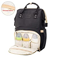 Baby Diaper Backpack Bag Unisex Nappy Changing Bag Multi-function Travel Backpacks Waterproof Rucksack Dad Mummy Large Capacity Canvas (black)