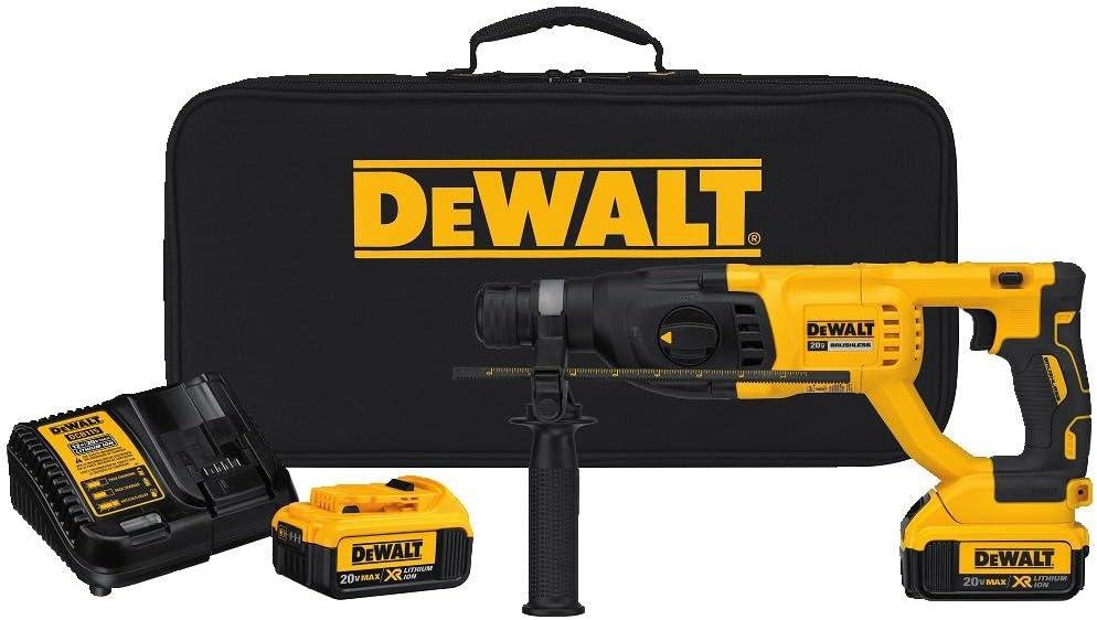 DEWALT 20V MAX XR Rotary Hammer Drill Kit, D-Handle, 1-Inch DCH133M2