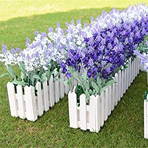 Wootkey 12 Pack Artificial Flower Mixed Color Lavender 4 Bundle Arrangement for Wedding Bouquet Silk Fake Faux Flowers with Greenery Leaves Stems Table Centerpiece Ideas DIY Home Decor Party 4