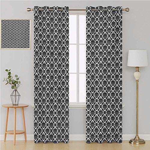 (Benmo House Black and White grummet Curtain Room Divider Curtain Screen Partitions,Monochrome Flourishes with Venetian Design Details Repeating Scroll Curtain Panels 120 by 84 Inch Black and White)