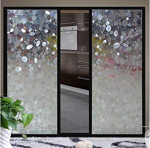 bofeifs Non-Adhesive Window Film Cobblestone No-Glue 3D Window Flim for Bathroom or Kitchen,17.7x78.7 Inch