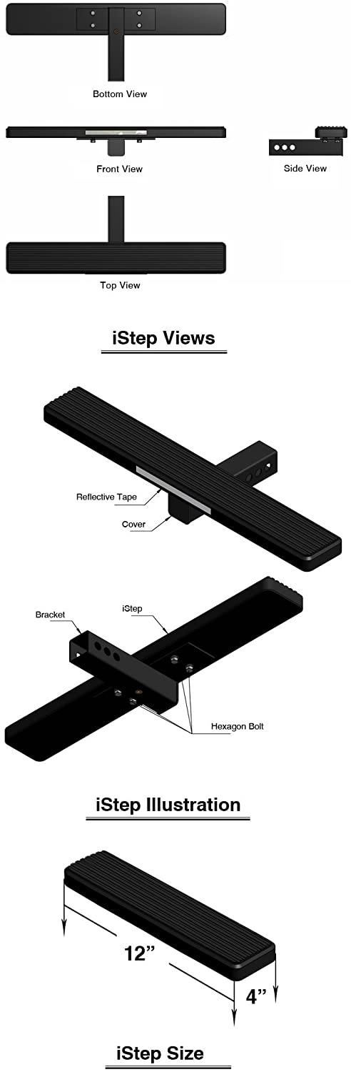 APS Aluminum Black 14in Rear Trailer Hitch Step Fits Class 3//4//5 Receiver Tube Hitchstep | Roof Rack | Bumper Guard Protector