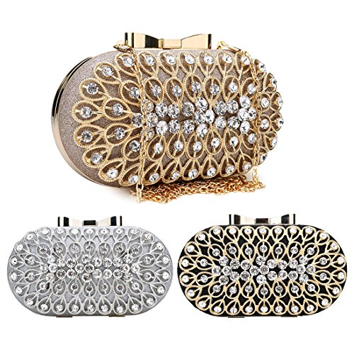 Clutches For Evening Bags Cocktail Party Black Women Sparkly Rhinestone Crossbody 0ZEqEgw