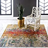 Unique Loom Outdoor Collection Rustic Colorful Abstract Transitional Indoor and Outdoor Multi Square Rug (6' x 6')