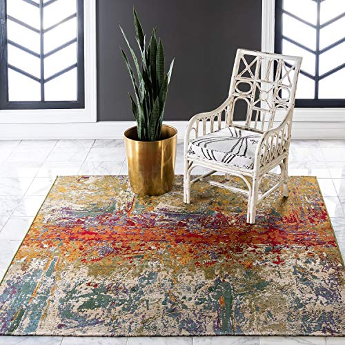 Unique Loom Outdoor Collection Rustic Colorful Abstract Transitional Indoor and Outdoor Multi Square Rug (6′ x 6′) For Sale