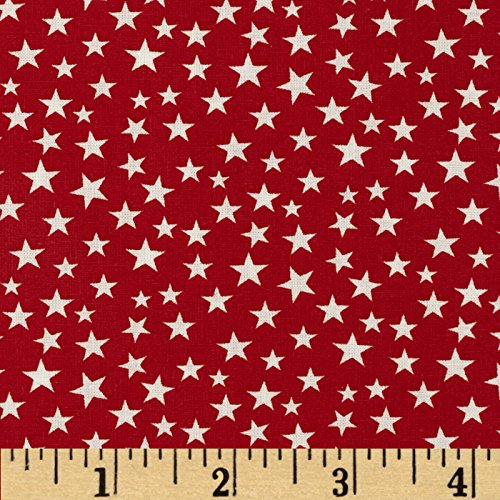 Santee Print Works Made in The USA Stars White/Red Fabric by The Yard, (Patriotic Cotton Fabric Stars)