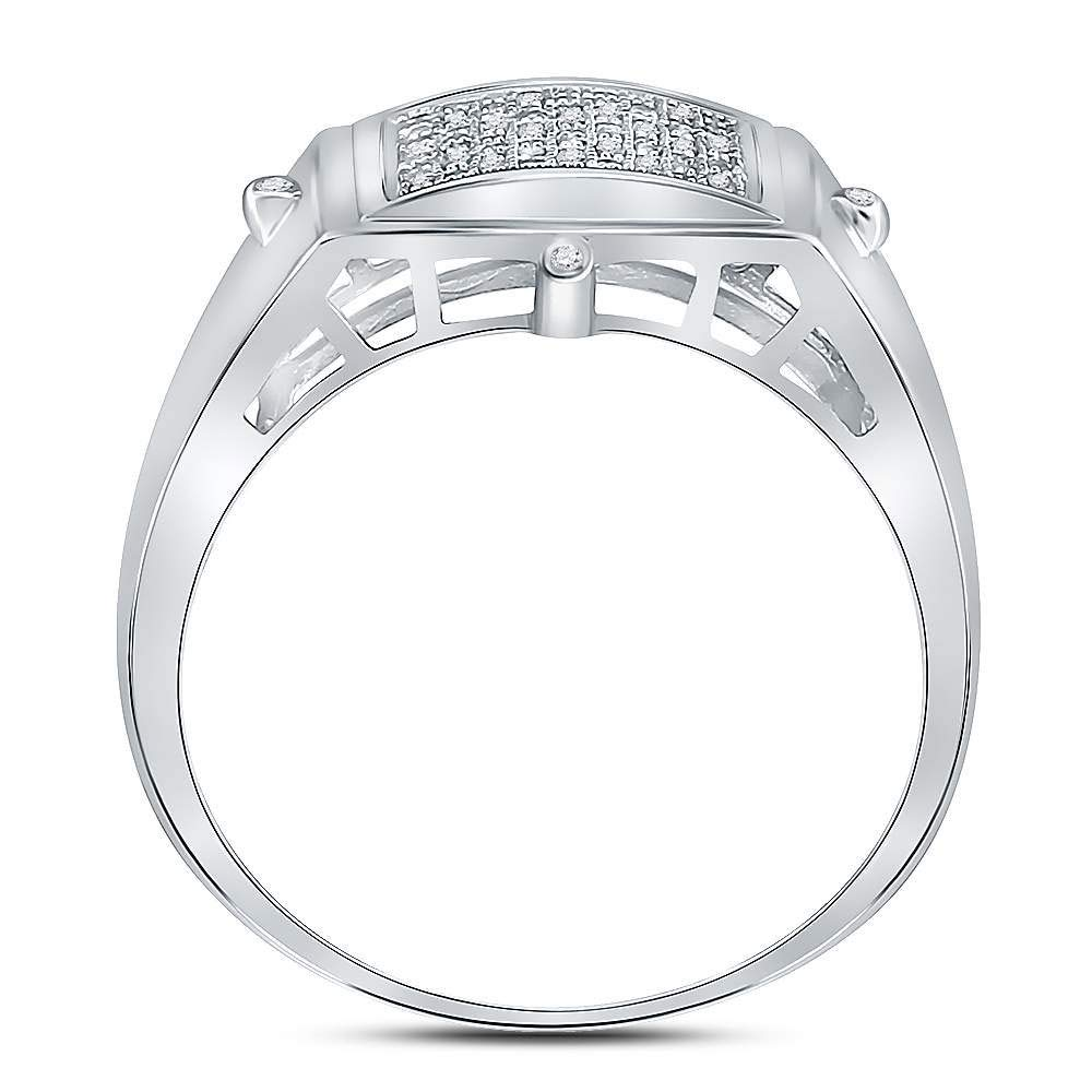 Sterling Silver Mens Round Diamond Square Cluster Ring 1//6 Cttw