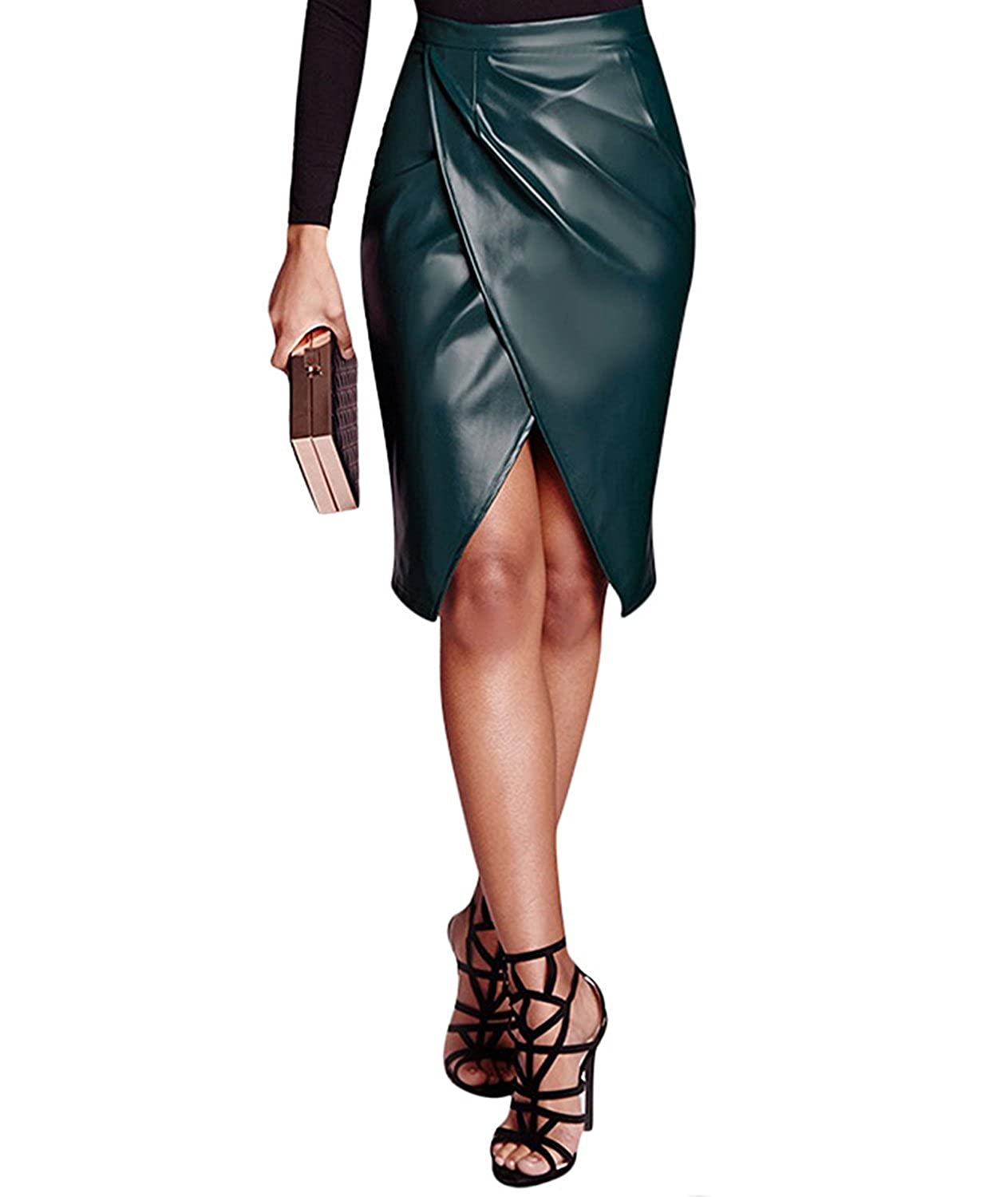 4dbe06f7dd Women's Slit Front OL PU Leather Pencil Knee Length Midi Pencil Skirt at  Amazon Women's Clothing store:
