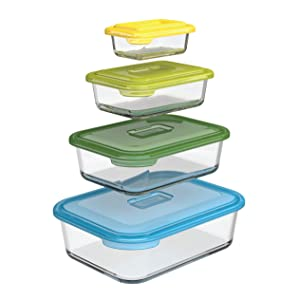 Joseph Joseph 81064 Nest Glass Food Storage Container and Bakeware Set with Lids Oven Proof Freezer Microwave Dishwasher Safe, 8-piece, Multicolored