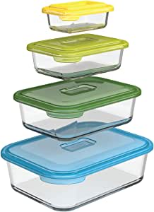 Joseph Joseph Nest Glass Storage Food Container and Bakeware Set with Lids Oven Proof Freezer Microwave Dishwasher Safe, Multicolored, 8-piece, (81064)