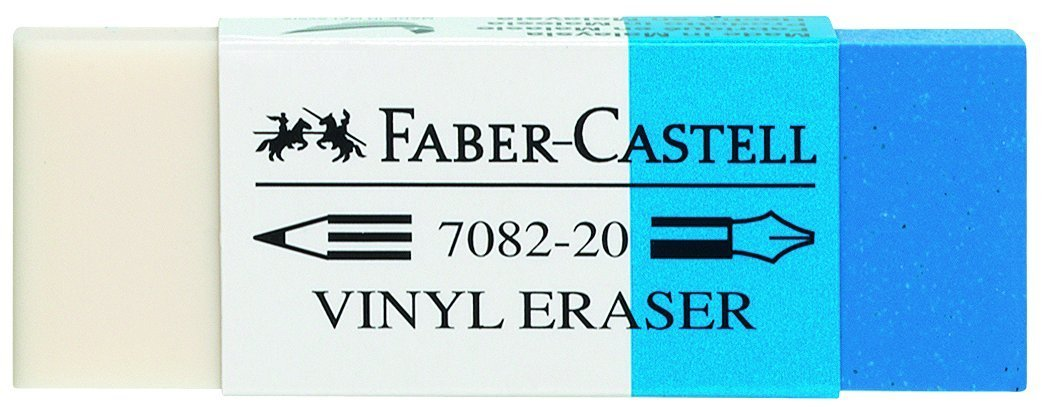 Faber-Castell 522300 Gomme Plastique Combi 7082-20 Blanc/Bleu 188220
