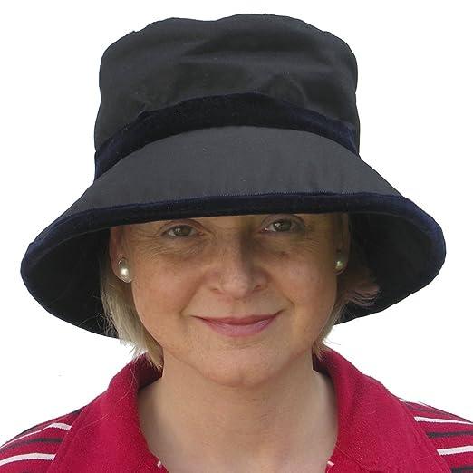 440717c2c28 Ladies Navy Velvet Trim Bucket Wax Waterproof Winter Rain Hat   Amazon.co.uk  Clothing
