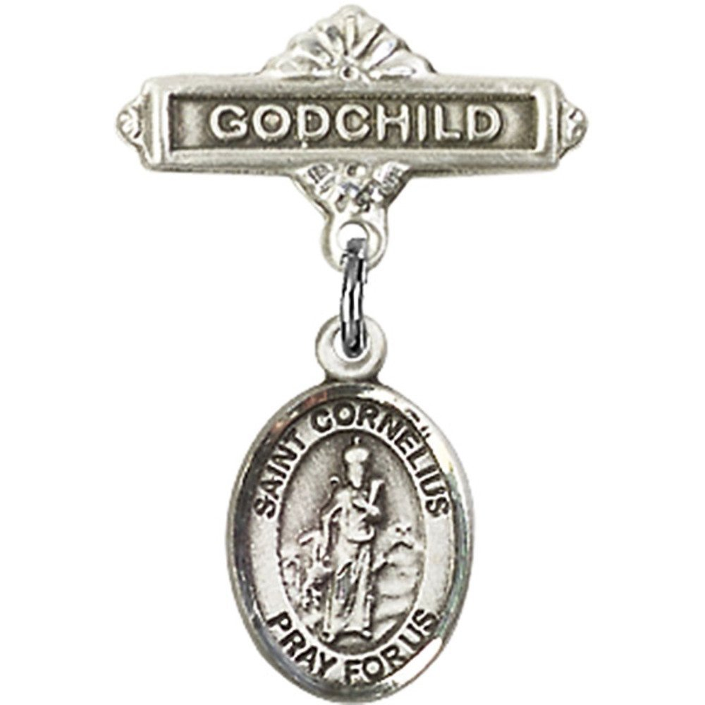 Sterling Silver Baby Badge with St. Cornelius Charm and Godchild Badge Pin 1 X 5/8 inches