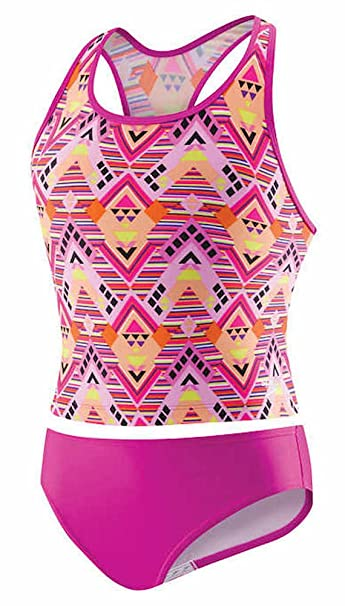 40e24f7f0b Amazon.com: Speedo Girl's Sporty Splice Tankini 2 Piece Swimsuit: Clothing