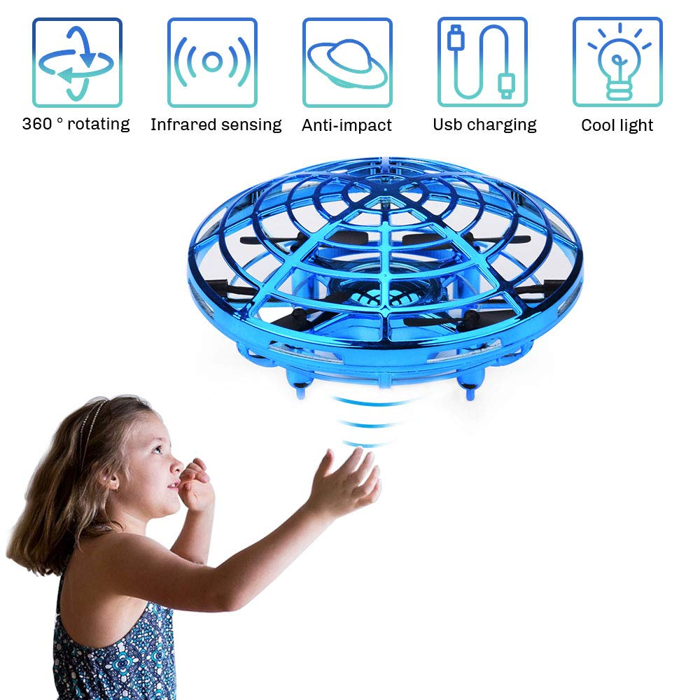 CPSYUB Hand Operated Mini Drone, Hand Free Kids Drone Helicopter for 4, 5, 6, 7, 8, 9, 10, 11, 12 Year Old Boys / Girls, Easy Indoor Small Orb Flying Ball Drone for Kids Toys Gifts (Blue)