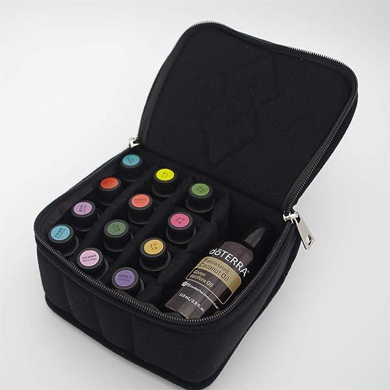 Noir LUOEM Organisateur dhuiles essentielles Trousse de Maquillage pour Sac de Voyage pour Sac de Voyage en Huile Essentielle Antichoc pour Magasin de Voyage 13