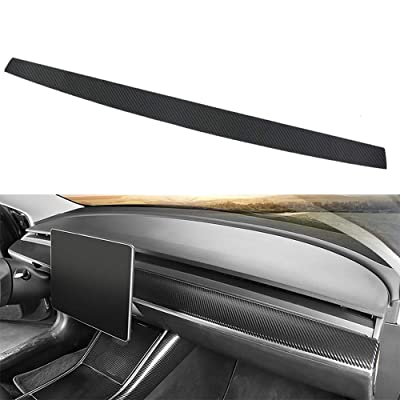 BASENOR Tesla Model 3 Model Y Dashboard Wrap Leather Sticker Carbon Fiber: Automotive