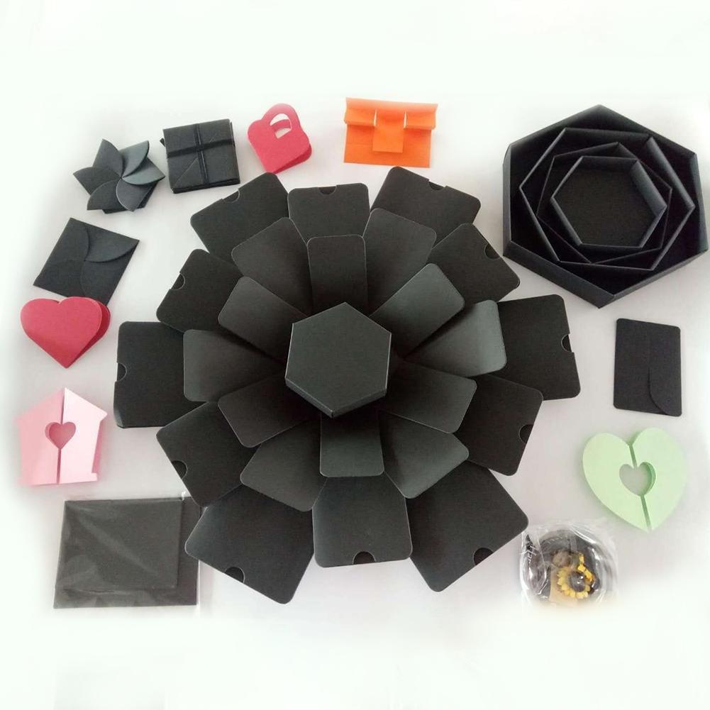 Hexagon 5-lagig 6-seitige Explosions-Geschenkbox Innovative Album-Box Geschenkbox DIY-Foto