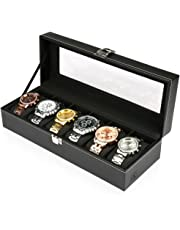 H&S® Glass Lid 6 Watch Jewellery Display Storage Box Case Bracelet Tray Faux Leather Black