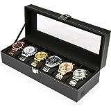 H&S® Glass Lid 6 Watch Jewellery Display Storage Box Case Bracelet Tray Faux Leather Black