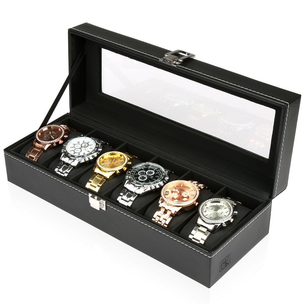Hu0026S® Glass Lid 6 Watch Jewellery Display Storage Box Case Bracelet Tray  Faux Leather Black