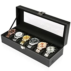 H&S¨ Glass Lid 6 Watch Jewellery Display Storage Box Case Bracelet Tray Faux Leather Black