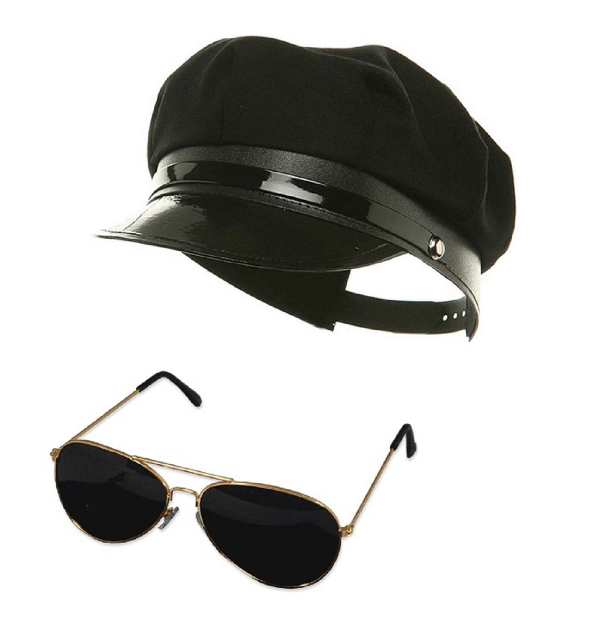 Black Chauffeur Chauffer Hat Aviator Glasses Police Officer Limo Driver Costume by Nicky Bigs Novelties