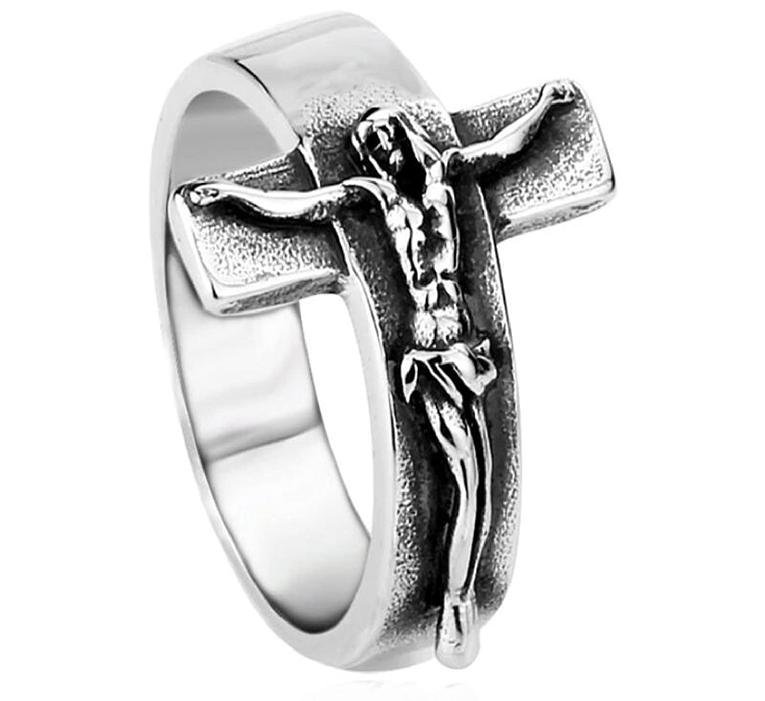 cross dp jesus solid amazon vintage design crucifix steel sterling ring rings open com band sunscsc silver stainless