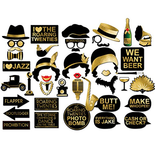 Great Gatsby Party Photo Booth Props,BizoeRade 42pcs Roaring 20s Twenties Photo Booth Props,1920s Wedding Photo Booth (1920s Party)