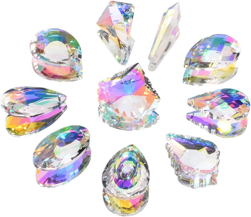 Pack of 10 Colorful AB Crystal Window Hanging Pendant Rainbow Suncatcher Chandelier Prisms Christmas Decoration Mix Style