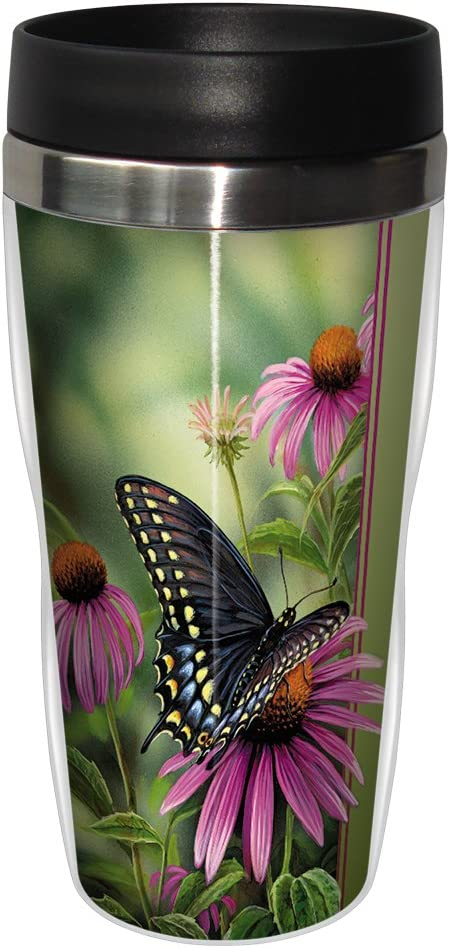 Tree-Free Greetings 25504 Rosemary Millette Butterfly Moments Rest Sip 'N Go Stainless Lined Travel Mug, 16-Ounce