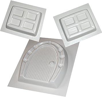 Pequeña puerta de hada y Windows moldes moldes yeso hormigón 3 Set 2: Amazon.es: Hogar