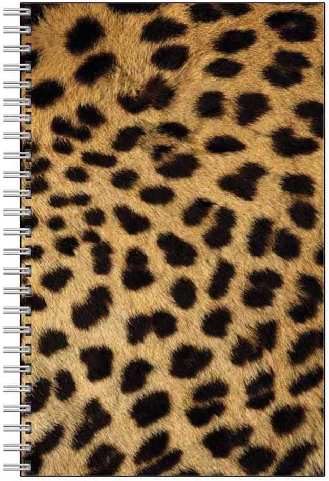 Cheetah Print Notebook Journal - Wildlife Animal Theme Design - Spiral Bound - 80 Lined Pages - Stationery Paper - Office Business School Supplies