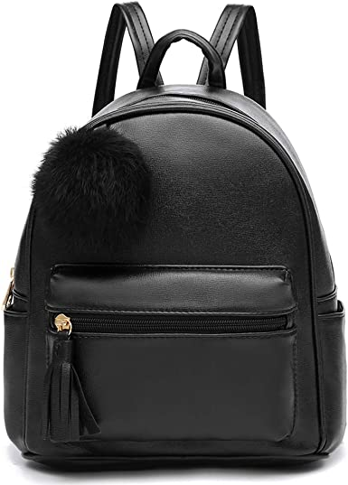 Mini Backpack Purse for Women Teenage Girls Purses PU Leather Daypack Shoulder Bag with Charm Tassel and Pompom