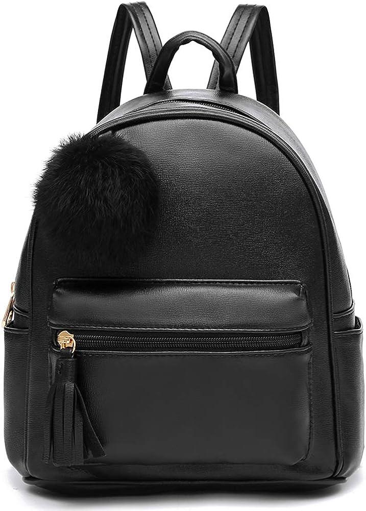 Mini Backpack Purse for Girls Teens Women Purses PU Leather Pom Backpack Shoulder Bag with Charm Tassel