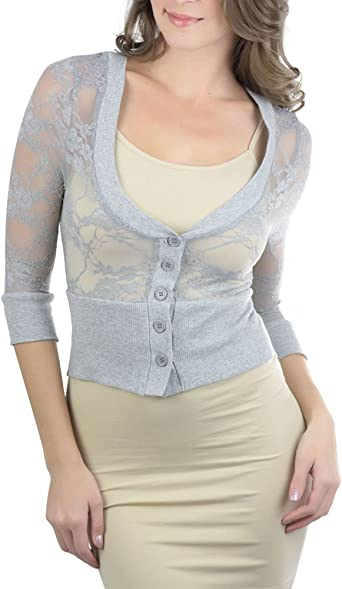 ToBeInStyle Women's All Lace Cropped Cardigan at Amazon Women's ...