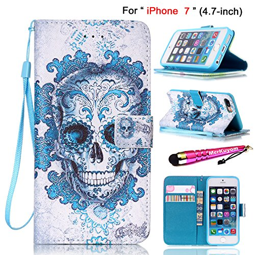 iPhone 7 Case, iPhone 8 Case [Wrist Strap],MerKuyom [Kickstand] Premium PU Leather Wallet Pouch Flap Flip Cover Skin Case For Apple iPhone 7 / iPhone 8 4.7