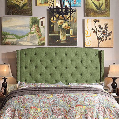 Review Noblesville Upholstered Wingback Headboard, Queen Olive