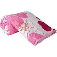 Shoppoking Single Bed Ac Blanket Dohar/Quilt Pink Flowers, Fabric - Micro Cotton, Size -54X84 Inches - Multi Color