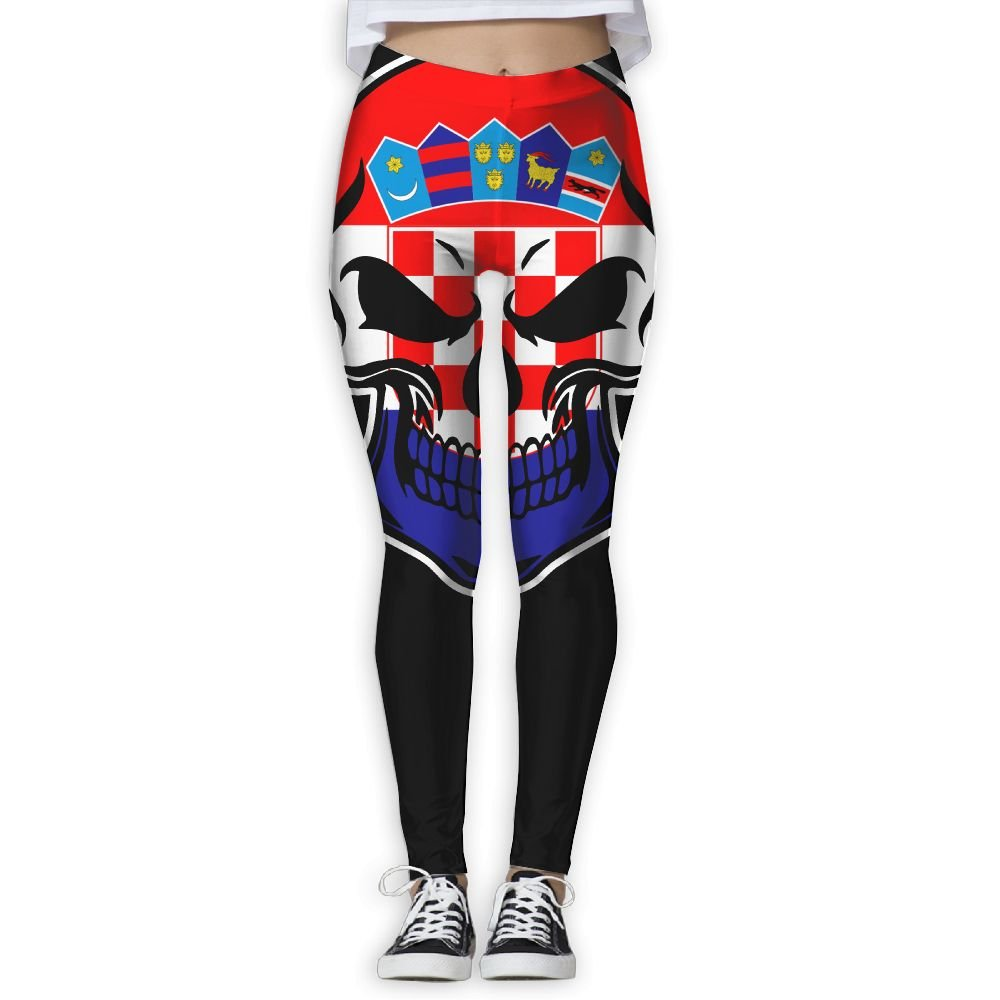 DDCYOGA Croatia Flag Skull-1 Women's High Waist Yoga Pants Fitness Yoga Sport Pants For Girls