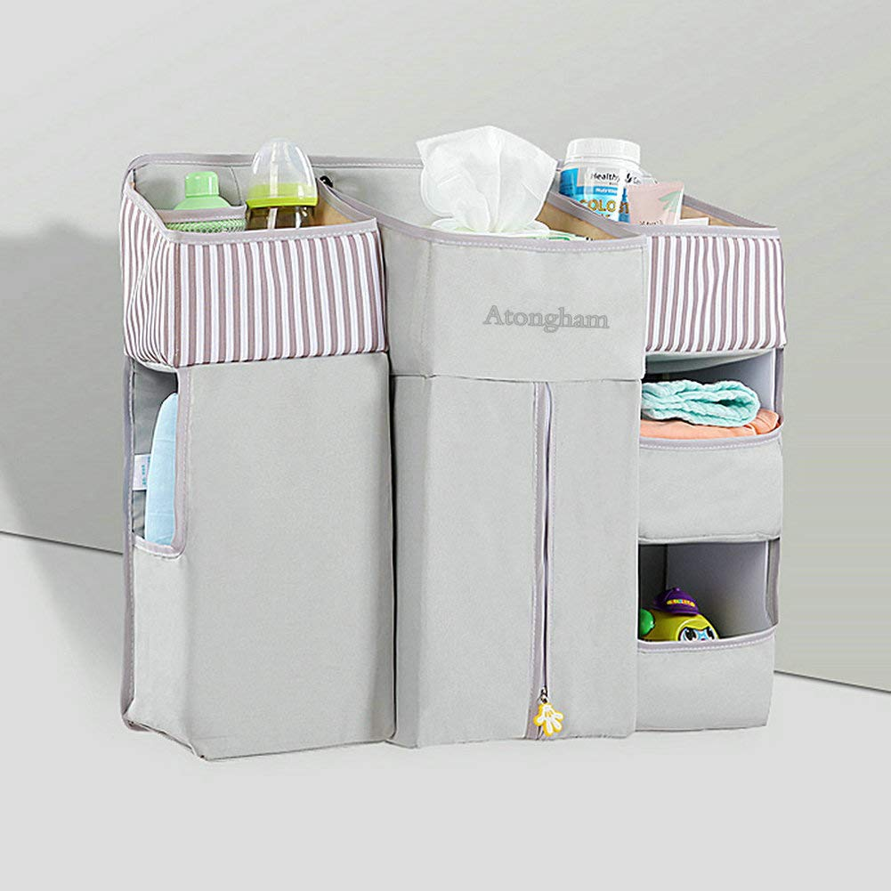 Gray Wall Large Storage Bag Nursery Organizer Cot Tidies Atongham Diaper Caddy Organizer Hanging Diaper Caddy for Baby Crib Changing Table Car