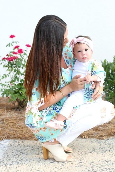 sunbona Mom&Me Toddler Baby Girls Matching Flower Tassel Shawl Kimono Cardigan Coat Spring Summer Beachwear