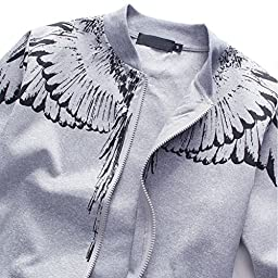 Asali Mens Tracksuit Feather Wings Fashion Warm Up Jog Suit with Clothes and Pants Navy L