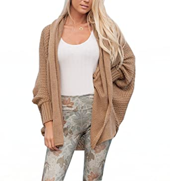 Women Cozy Knit Dolman Sleeves Sweater Draped Open Cardigan Tops Khaki at  Amazon Women s Clothing store  a94ce6cc3