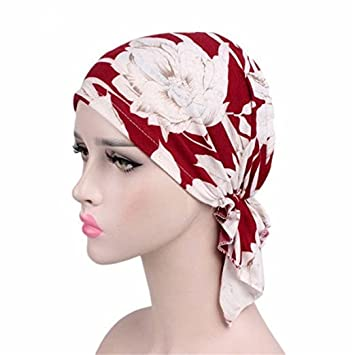 Samidy Women Cotton Bandana Scarf Pre Tied Chemo Hat Beanie Turban Headwear  For Cancer Patients Ladies Turbante (Red)  Amazon.co.uk  Beauty c17758fa2203