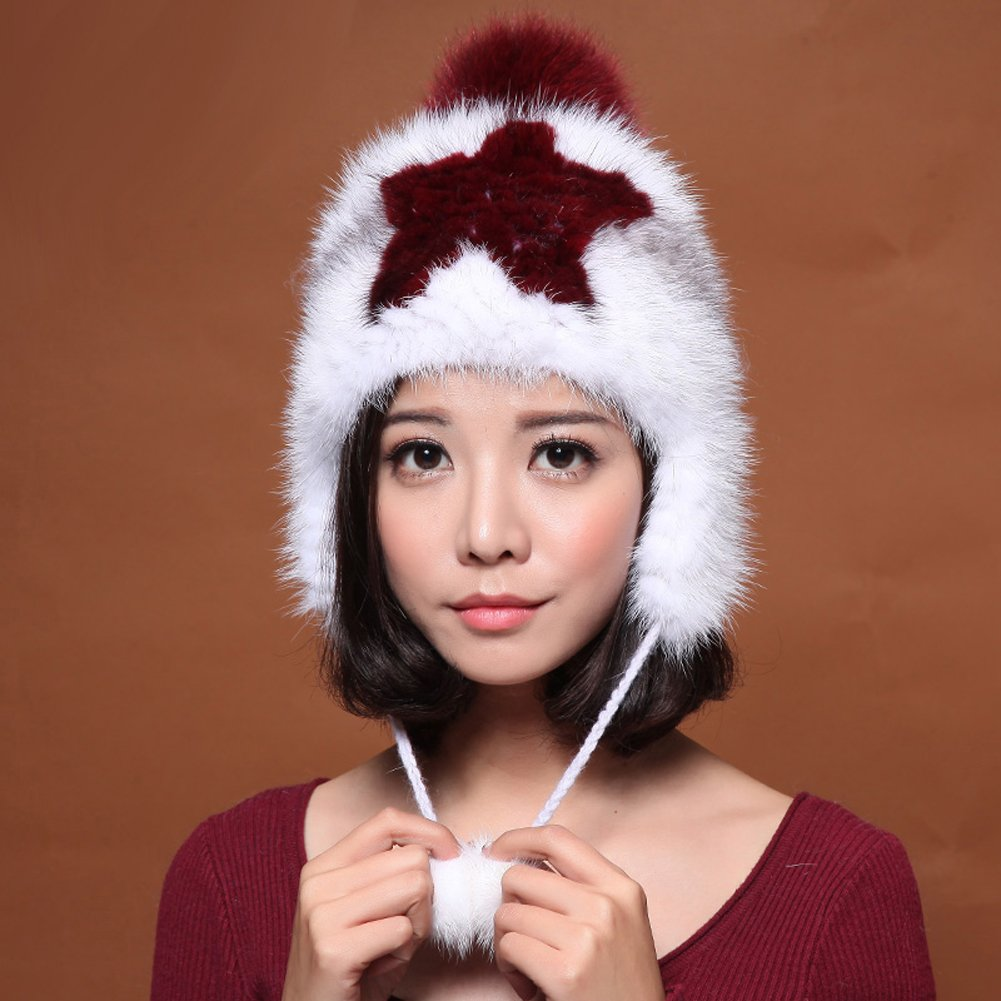 MINGXINTECH womens real marten fur hat for ladies hunter trapper cap with ear flaps by MINGXINTECH (Image #2)