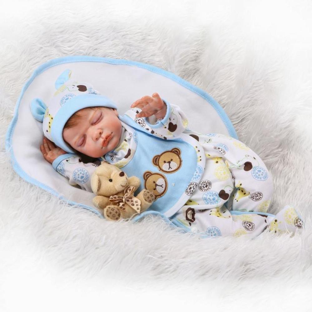 QXMEI 50 cm 20 Inch Reborn Baby Puppe Lebensechte Schlafende Mädchen Magnetische Schnuller Puppe Spielzeug Kind Geschenk