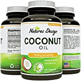 #1 Pure & Organic Coconut Oil, Highest Grade and Quality Capsules (Best Supplements) - Certified Full Strength - 100% Safe & Natural, Premium Formula -1000 MG PER SERVING 120 SOFTGELS