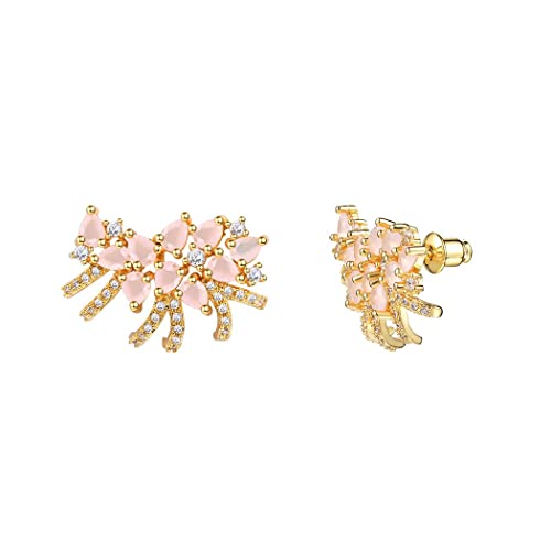 0a9934ff8 Crystal Flower Stud Earrings 18k Gold Plated Rose Quartz Pink Earrings For  Women/Girls