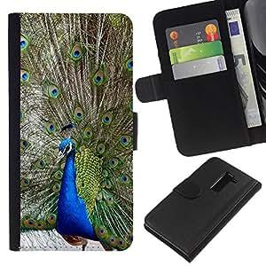 KingStore / Leather Etui en cuir / LG G2 D800 / Las plumas del pavo real del cuento Pájaro Azul Verde